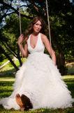 Halter V-Neck Ruffled Ball Gown Wedding Dress W18172