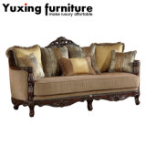 Classical Fabric Sofa Set with Carved Wood Trim for Living Room