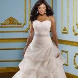 2016 Plus Size A-Line Ruffle Organza Pleated Wedding Dress