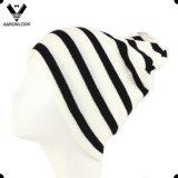Men's Winter Fashion Black White Stripe Knitted Sports Hat