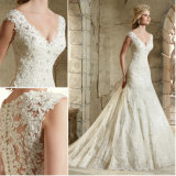 Luxury A Line V Neck Sleeveless Appliqued Satin Wedding Dress