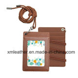 Leather ID Badge Case Credit Card Holder with Neck Strap