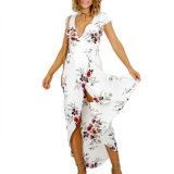Fashion Women Sexy Slim Chiffon Printed V-Neck Split Dress