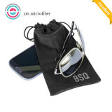 Polyester Logo Printed Black Sunglasses Pouch, Soft Glasses Pouch