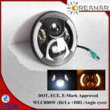 80W 7inch Hi/Lo Beam +DRL Angle Eyes LED Jeep Wrangler Headlight with DOT, E-MARK, ECE Approved