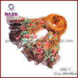 New Fashion Floral Printed Voile Scarf 2012 (VP01-7)
