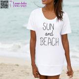 Sun and Beach Print Short Sleeve Dress L38478