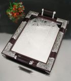 Silver Plated and Wood Tray (TW12308BXR-2F)