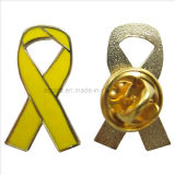 Wholesale Price Hard Enamel Yellow Awareness Ribbon Pin Badge (badge-101)