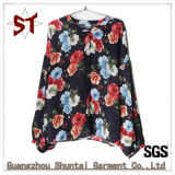 Ladies Fashion Collarless Floral Pattern Shirt T-Shirt
