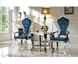 French Luxury High Back Chairs Stainless Steel Banquet Dining Arm Chairs for Hotel Hall