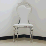 Hot Sale Model Ornamental Engraving Back White Leather Stainless Steel Banquet Chair