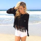 Women′s Casual Loose Long Sleeve Tassels Boho Blouse Shirt Tops