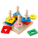Wooden Montessori Children′s Baby Intellectual Building Blocks Stacking Set Educational Toys