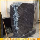 Wholesale Bahama Blue Tombstone Headstone with Rose Carving
