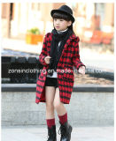 Girls′ Checked Coat Thickened Children Clothes with Hood