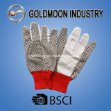 White and Black Canvas Dotted Safety Work Glove