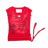 New Fashion Women′s V-Neck T Shirt (JRU013)