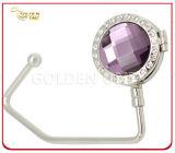 Quality Gemstone Decoration Metal Handbag Hook with Mirror Inside