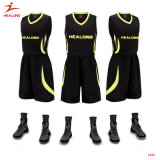 Healong Black Team Cheap Custom Basketball Jerseys Design Basketball Uniforms
