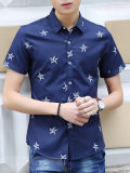Men′s Printed Slim Fit Casual Shirt