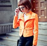 C1226 Women′s Short Soft Stand Collar PU Leather Motorcycle Jacket