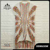 Women Abstract Flower Vest Cardigan with Fringe Hem