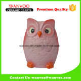 Cute Pink Ceramic Home Decoration Owl for Coin Bank