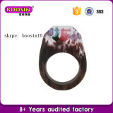 Hot Sale 2016 Resin Wood Jewelry Rings Screct Flowers Rings