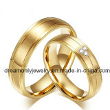 Fashion Jewelry Gold Color Brass Wedding Bands Engagement Couples Rings Sets for Men and Women