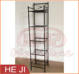 Powder Coated Wire Shelf with Four Tiers and One Basket