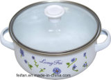 Belly Shape Casserole with Glass Lid, with Colorful Decor