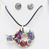 Flower Enamel Fine Jewelry Set 925 Sterling Silver