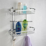 Wall Mounted Oval Bathroom Basket with Double Shelf (8812)