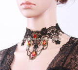 Fashion Western Gothic Style Lace Red Stone Heart Pendant Gift Necklace Jewelry