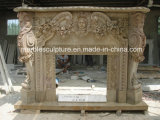 Hot Selling Statue Surface Carved Marble Fireplace with Flowers (SY-MF172)