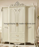 White Antique French European Style 3 Door Carved Wooden Wedding Bedroom Furniture Clothes Cabinet