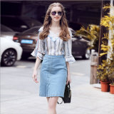 Denim Skirt with Zipper +Strip Printed Top with Flare Sleeve