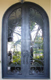 Double 8FT Wrought Iron Glass Door Inserts with Sidelight