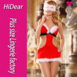 Sexy Christmas Costume Marabous Trimmed Blinder Dress with Button G-String