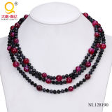 2014 Crystal and Agate Three Rows Necklace Costume Jewelry