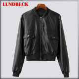 Leisure Black PU Jacket for Women Winter Outer Wear