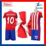 Healong Blue and Red Digital Stripe Printed Cheap Soccer Set