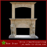Overmantel Double Marble Fireplace Mantel, Big Overmantel with Lions