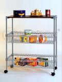 Mobile DIY Metal Wire Food Storage Cart with Basket