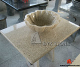 Sandy Gold Granite Vanity Top with Petal Shape Basin