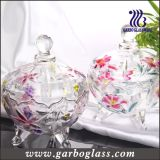 Spray Color Lily Design Glass Candy Jar (GB1804LB/P)