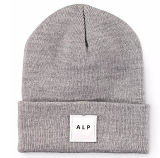 Wholesale Grey Cotton Winter Warm Hat Knitted Beanie Cap