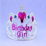 Silver Tiara Crown with Blue and Heart Jewel Hair Accessories