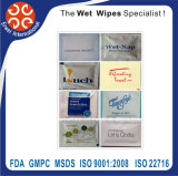 Single Use Wet Towels Individually Wrapped for Restaurant Use One Colour Packaging with Logo and Text